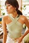 Kadın Su Yeşili Çapraz Yakalı Yazlık Triko Bluz BLZ-19000870