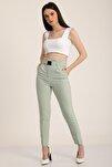 Kadın Mint Yeşil Yüksek Bel Palaska Kemerli Kumaş Pantolon Mdt5015