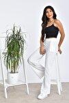 Kadın Beyaz Beli Lastikli Bol Paça Yüksek Bel Pantolon