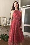 Pembe Kuşaklı Çiçek Desenli Halter Yaka Elbise TWOSS20EL2536