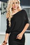Kadın Esnek Kumaş Siyah Elbise Mini Fantezi Gecelik