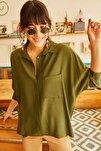 Kadın Haki Cepli Salaş Gömlek 11 GML-19000420
