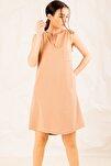 Kadın Bej Cepli Midi Boy Elbise ARM-19Y001122