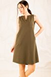 Kadın Haki Cepli Midi Boy Elbise ARM-19Y001122