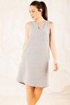 Kadın Gri Cepli Midi Boy Elbise ARM-19Y001122