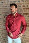 Bordo Erkek Yarım Patlı Düğmeli  Gömlek TMNSS20GO0113