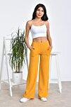 Kadın Sarı Beli Lastikli Bol Paça Yüksek Bel Pantolon