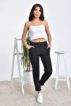 Kadın Siyah Beli Lastikli Havuç Dar Paça Pantolon