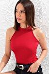Kadın Kırmızı Kaşkorse Kolsuz Bluz Yİ1566