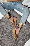Rokko Kum Lila Süet Siyah Kemerli Zımba Detaylı Dolgu Topuklu Sandalet