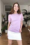 Lila Kolları Tül ve Volan Detaylı Örme Bluz TWOSS20BZ0720