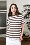 Kahverengi Dik Yaka Çizgili Basic Örme T-Shirt TWOAW20TS0096