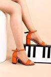 Turuncu Lazerli Kadın Topuklu Ayakkabı 2013-05-1604