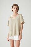 Kadın Açık Haki Basic Oversize Düğümlü Örgü T-Shirt 05236324