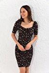 Kadın Siyah Balon Kol Kare Yaka Elbise Yİ1809
