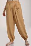 Kadın Camel Bel Lastikli Salaş Pantolon Mdt6144