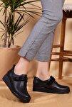 Kadın Siyah Hakiki Deri Anatomik Taban Klasik Ayakkabı