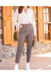 Kadın Kahverengi Yüksek Bel Dikiş Detaylı Pantolon
