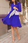 Kadın Saks Şifon Kruvaze Yaka Elbise
