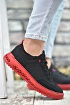 Siyah Kırmızı Erkek Sneaker Rcng12504