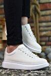 3D Baskılı Beyaz Erkek Sneaker