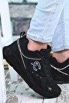 Siyah Siyah Beyaz Çizgili Erkek Sneaker 0012S06