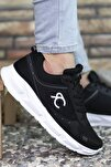 Siyah Beyaz Erkek Sneaker 0012S06