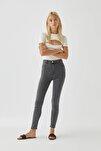 Kadın  Gri Yüksek Bel Skinny Jean