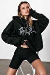 Kadın Siyah Nakışlı Kapüşonlu Sweatshirt Mg812