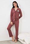 Bordo Panda Baskılı Örme Pijama Takımı THMAW21PT0245