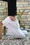 Baskılı Beyaz Erkek Sneaker 0012365