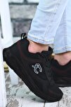 Siyah Siyah Kırmızı Çizgili Erkek Sneaker 0012S06