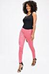 Kadın Pembe Ön Arka Dikişli Dar Paça Tayt Pantolon - Gül Kurusu
