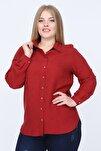 Kadın Kırmızı Büyük Beden Gömlek