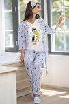 Kadın Lacivert Çizgili Karakter Desenli Penye Pijama
