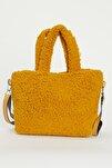 Kadın Sarı Elde Tutma Çapraz Kullanım Peluş Çanta