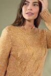 Kadın Örgü Desen Uzun Kol Triko Kazak 3955