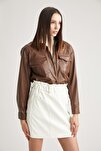 Kadın  Kahverengi Deri Görünümlü Oversize Gömlek