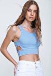Kadın Mavi Dekolteli Crop Kaşkorse Bluz ALC-X6077