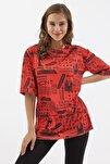 Kadın Baskılı Yırtmaçlı Kısa Kollu Tişört Y20s110-3124