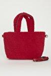 Kadın Kırmızı Elde Tutma Çapraz Kullanım Peluş Çanta