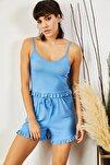 Kadın Bebe Mavi Askılı Fırfırlı Pijama Takımı TKM-19000076