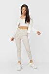 Kadın Krem Rengi Süper Yüksek Bel Pantolon 01120819