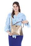 Kadın Bronz Renk Elde Ve Omuz Askılı Kullanılabilen Bol Gözlü Püskül Aksesuarlı Çanta