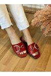 D Desenli Kırmızı Renk Trend Terlik