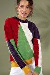 Kadın Bisklet Yaka Intersiye Renkli Kazak 80149