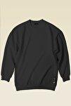 Kadın Füme Basic 0 Sıfır Yaka Baskısız Düz Oversize Salaş Bol Kesim Polar Sweatshirt