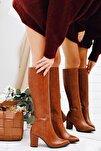 Tatum Taba Sivri Burunlu Orta Topuklu Çizme