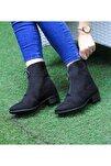 Kadın Siyah Süet 3cm Topuklu Bot