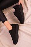 Siyah Süet Kadın Sneaker 15732